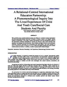 A Phenomenological Inquiry Into The Lived Experiences Of ... - ERIC
