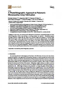 A Photolithographic Approach to Polymeric Microneedles Array ... - MDPI