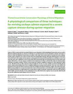 A physiological comparison of three techniques for reviving sockeye ...