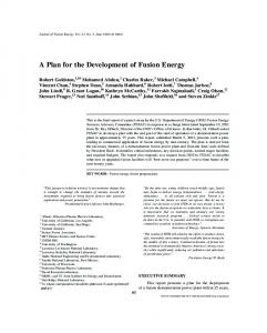 A Plan for the Development of Fusion Energy - Advanced Energy ...