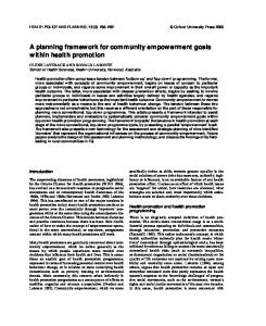 A planning framework for community empowerment goals within ...