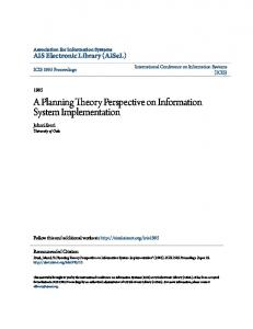 A Planning Theory Perspective on Information System