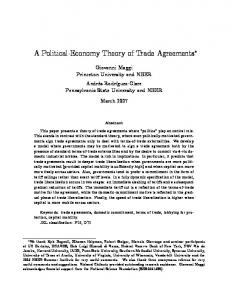 A Political%Economy Theory of Trade Agreements