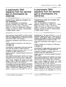 A polymorphic DNA part of chromosome 5p A ... - Europe PMC