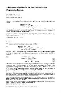 A Polynomial Algorithm for the Two-Variable Integer Programming ...