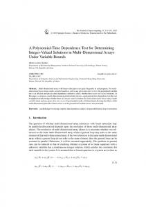 A Polynomial-Time Dependence Test for Determining Integer-Valued