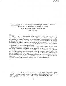 A Polynomial Time, Numerically Stable Integer ... - NTRS - NASA