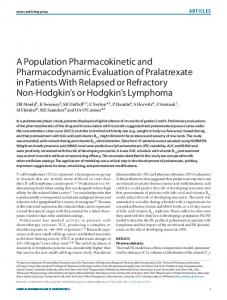 A Population Pharmacokinetic and Pharmacodynamic Evaluation of ...