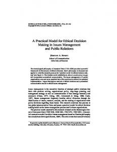 A Practical Model for Ethical Decision Making in Issues Management ...