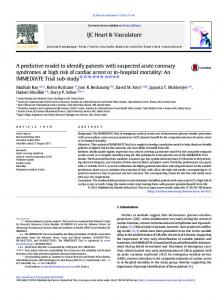 A predictive model to identify patients with suspected acute coronary ...