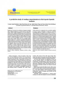 A predictive study of reading comprehension in third ... - Psicothema