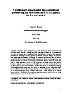 A preliminary assessment of the economic and poverty impacts ... - PEP