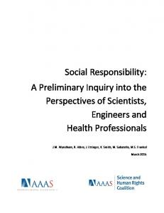 A Preliminary Inquiry into the Perspectives of Scientists, Engineers and