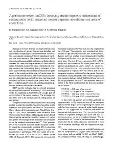 A preliminary report on DNA barcoding and phylogenetic relationships ...