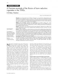 A Premiere example of the illusion of harm reduction cigarettes ... - NCBI