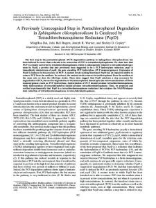 A Previously Unrecognized Step in Pentachlorophenol Degradation in ...