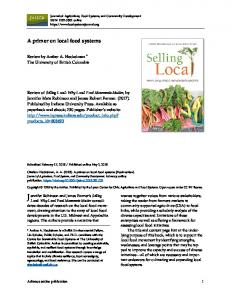 A Primer on Local Food Systems - Journal of Agriculture, Food ...