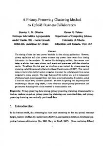 A Privacy-Preserving Clustering Method to Uphold ... - Semantic Scholar