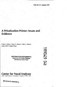 A Privatization Primer: Issues and Evidence Center for Naval Analyses