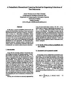 A Probabilistic Hierarchical Clustering Method for ... - CiteSeerX