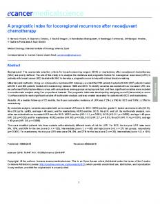 A prognostic index for locoregional recurrence