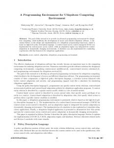 A Programming Environment for Ubiquitous Computing Environment