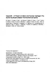A Project on Solar and Nuclear Hydrogen Production by ... - JuSER