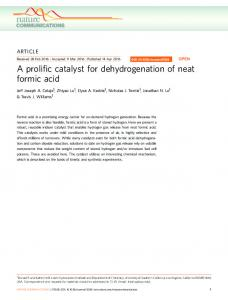 A prolific catalyst for dehydrogenation of neat formic acid