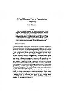 A Proof Checking View of Parameterized Complexity - Semantic Scholar