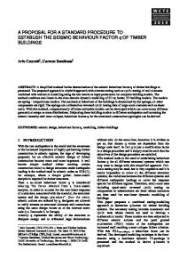A proposal for a standard procedure to establish the seismic ...