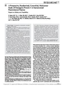 A Prospective, Randomized, Controlled, Multicenter Study of ...
