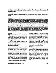 A Prospective Study to Assess the Functional Outcome of Pyeloplasty