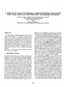 A Protocol for Consistent Checkpointing Recovery ... - Semantic Scholar