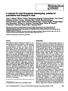 A protocol for high-throughput phenotyping, suitable for ... - Springer Link