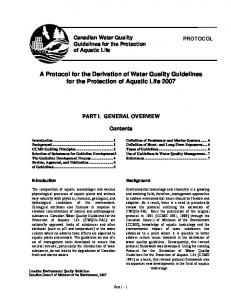 A Protocol for the Derivation of Water Quality Guidelines - Canadian ...