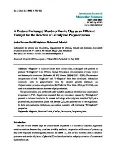 A Protons Exchanged Montmorillonite Clay as an Efficient Catalyst for ...