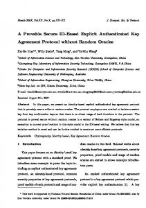 A Provable Secure ID-Based Explicit Authenticated Key Agreement ...