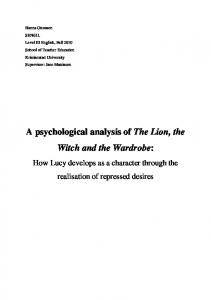 A psychological analysis of The Lion, the Witch and the ... - DiVA
