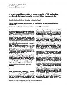 A psychological intervention to improve quality of life and reduce ...