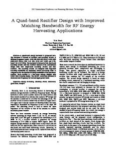A Quad-band Rectifier Design with Improved Matching ... - IEEE Xplore