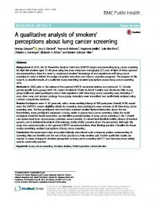 A qualitative analysis of smokers' perceptions about lung cancer ...