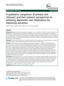 A qualitative comparison of primary care clinicians' and their patients ...