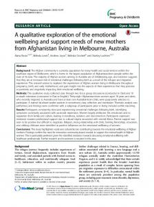 A qualitative exploration of the emotional wellbeing and support needs ...