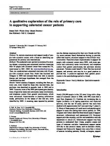 A qualitative exploration of the role of primary care in