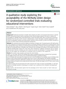 A qualitative study exploring the acceptability of the McNulty-Zelen ...