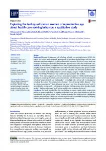 a qualitative study - Health Promotion Perspectives