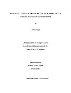 A Qualitative Study of Attendings' and Residents' Perspectives on ...