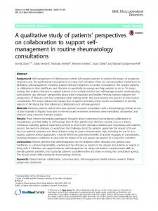 A qualitative study of patients' perspectives on ... - Springer Link
