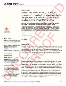 A qualitative study of population perspectives on Ebola contr - PLOS