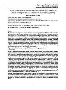 A Qualitative Study of Vocabulary Learning Strategies Applied ... - Eric